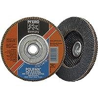 "PFERD 60489 Polifan PSF Z-EXTRA Type 27 Flat Flap Disc, Zirconia Alumina, 4-1/2"" Diameter, 5/8-11 Thread, 13300 rpm, 80 Grit"