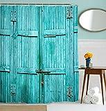 Bathroom Door Goodbath Barn Door Shower Curtain, Waterproof and Mildew Resistant Polyester Fabric Bathroom Curtains, 72 x 72 Inch, Turquoise (Turquoise)