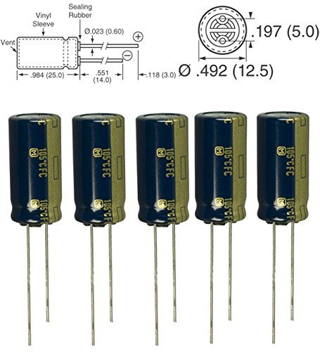 5pcs Panasonic FC 1000uF 35v 105c Radial Electrolytic Capacitor Low ESR, 5000 hours @ 105C