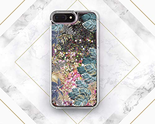 (Blue Purple Tropic Leaves Liquid Glitter Case Cover Back For Phone Samsung Galaxy S6 S7 S8 S9 Plus For Apple iPhone 5 5s SE 5c 6 6s 7 8 Plus)