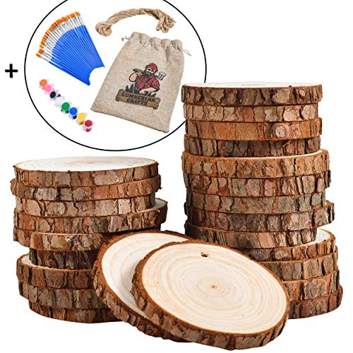 (24 Natural Wood Slices for Crafts Set (2.85-3.15in) by Lumberjak - 24 Paint Brushes, 8 Paint Colors, 33Ft Hemp String - Pre-Drilled Wooden Discs for Arts and Crafts, Ornaments, Wood Coasters )