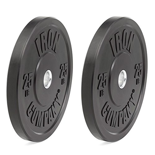 IRON COMPANY 25 lb. Premium Black Virgin Rubber Olympic Bumper Plates (PAIR) for Crossfit Workouts and Olympic Weightlifting - IWF Specifications by Ironcompany.com
