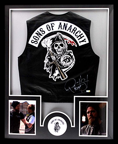 Ryan Hurst Autographed/Signed Officially Licensed Sons Of Anarchy Framed Black Biker Vest With