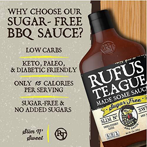 Rufus Teague: Sugar-Free BBQ Sauce - Premium BBQ Sauce - Natural Ingredients - Award Winning Flavors - Thick & Rich Sauce - Made with Stevia - Keto, Gluten-Free, Kosher, & Non-GMO - 2pk