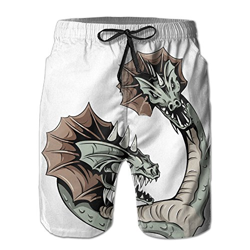 Double Headed Snake (Double Headed Snake Illustration Stylish Mens Beach Pants)