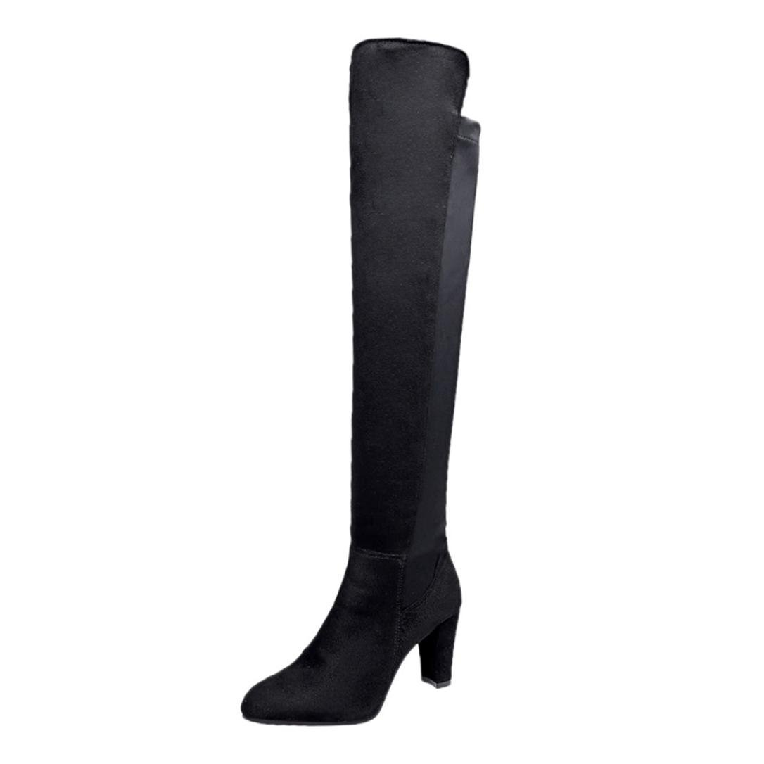 Womens Tall Winter Boots | Stretch Slim Over The Knee High Boots | Chunky Heels Riding Boots Shoes (Black, CN:36/US:6)