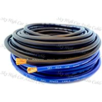 25 ft OFC 8 Gauge Oversized 12.5 BLUE & 12.5 BLACK Power Ground Wire Sky High Car