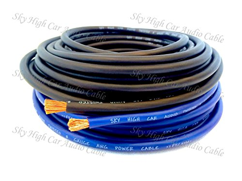 25 ft OFC 8 Gauge Oversized 12.5' BLUE & 12.5' BLACK Power Ground Wire Sky High Car