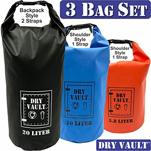 3 Bag Set - DRY VAULT – DRY BAG SETS – 500D PVC Tarpaulin – 20L, 10L, 5.8L with shoulder straps - WEATHERPROOF - WATERPROOF BAGS - BEST DEAL ON - Deals Amazon