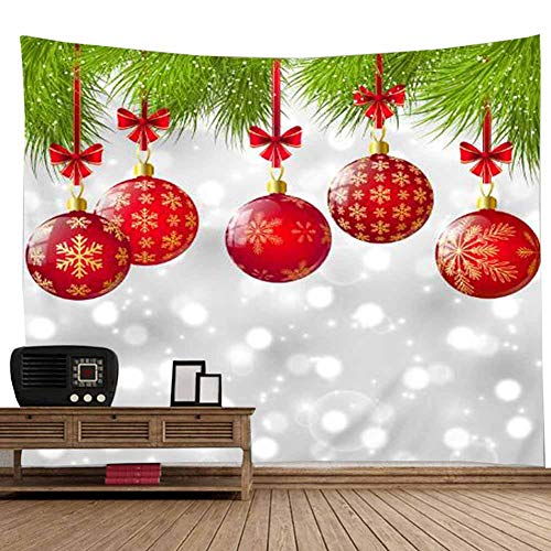 POPPAP Christmas Scene Setters Christmas Backdrop Wall Hanging Blanket 3D Digital Print Red Balls Green Leaf White Snow Grey Background Wall Decor Tapestry for Home, Dorm Decor(79
