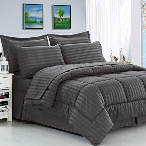 Hypoallergenic Fiber 8 Piece Reversible Haliburton Comforter Set (Gray, King/California - York Spring 7 New Street