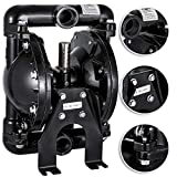Happybuy Air-Operated Double Diaphragm Pump 1 inch Inlet & Outlet Aluminum 35 GPM Max 120PSI for Chemical Industrial Use, QBY4-25L-1