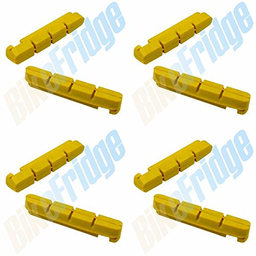4 Pairs (8 Pads) Shimano Dura-Ace Yellow Road Brake Pads,Compatible Inserts 105 ()