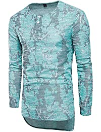 Mens Classic Buttons Asymmetric Print Long Sleeve Crewneck T-Shirts