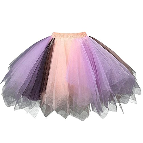 For Costumes Women Dance (Ellames Women's Vintage 1950s Tutu Petticoat Ballet Bubble Dance Skirt Lavender,Black,Orange)