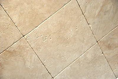 Light / Ivory 12X12 Tumbled Travertine Tile
