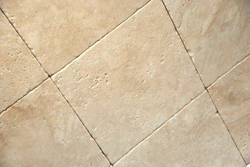 (Light / Ivory 12X12 Tumbled Travertine Tile )