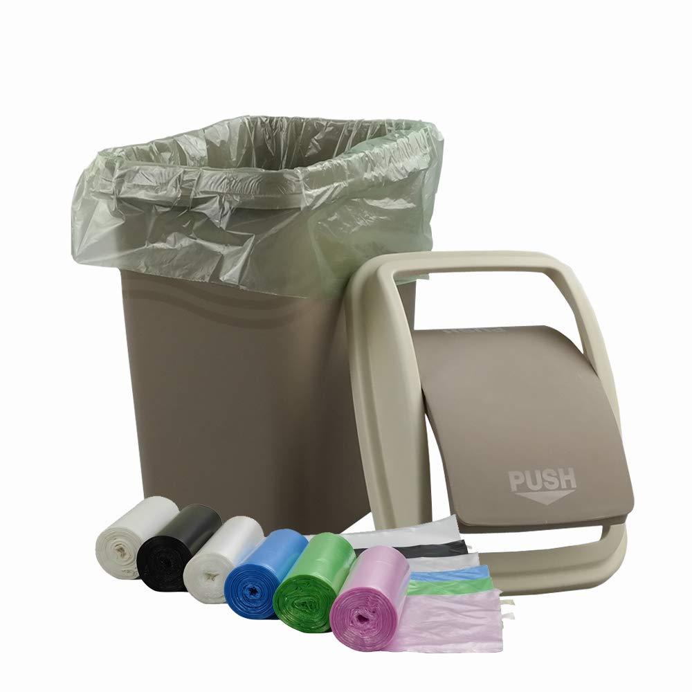 Mayish El plastico Khaki papelera basculante de 10 litros con 135 bolsas Forros de papelera de basura coloridos de 10 litros