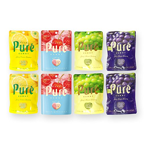 Japanese Puré Gummy Candies: Lemon, Mango, Grape, Muscat 1.97 Oz. (2 each)