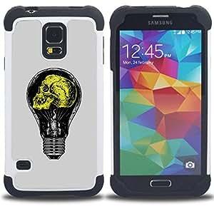 BullDog Case - FOR/Samsung Galaxy S5 I9600 G9009 G9008V / - / GREY YELLOW LIGHT BULB YELLOW IDEA /- H??brido Heavy Duty caja del tel??fono protector din??mico - silicona suave