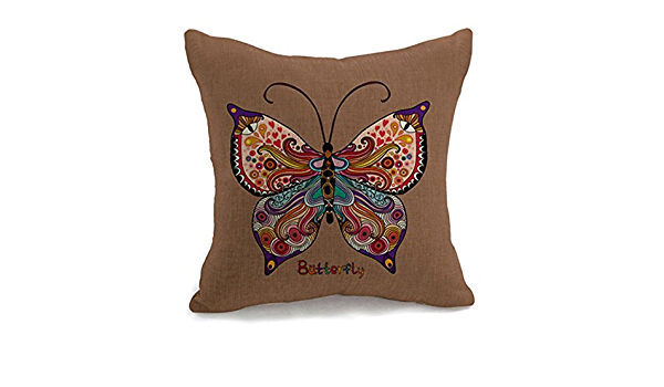 Retro Butterfly Print Home Linen Square Pillow Cushion Cover Pillowcase CB