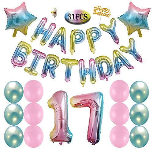 17th Birthday Decorations Gradient Happy Balloons Banner Pink Blue Latex Star Rainbow