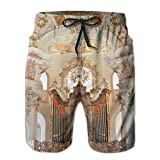 Wons Men's White Baroque Church Organ in Steinhausen Germany Swimming Swimming Trunks M Adjustable Beach Shorts with Pockets
