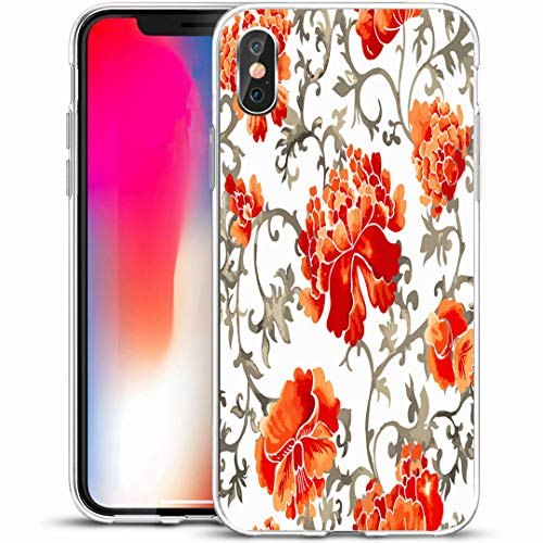 """Ahawoso Custom Phone Case Cover for iPhone X/XS 5.8"""",Culture Blue Abstract Pattern Watercolor Flower Nature Antique Asia Asian Scroll,Anti-Scratch Soft Rubber Gel/TPU"""