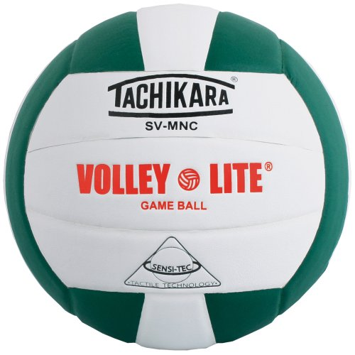 Tachikara SV-MNC Volley-Lite volleyball with Sensi-Tech cover, regulation size but lighter (dark green/white). Volley Green