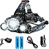 Rechargeable LED Headlamp, OUTERDO 8000 Lumens Super Bright Head Flashlight with 4 Modes Waterproof Headlight for Running Camping Cycling Fishing Hunting Climbing Hard Hat Light, LED Head Torch
