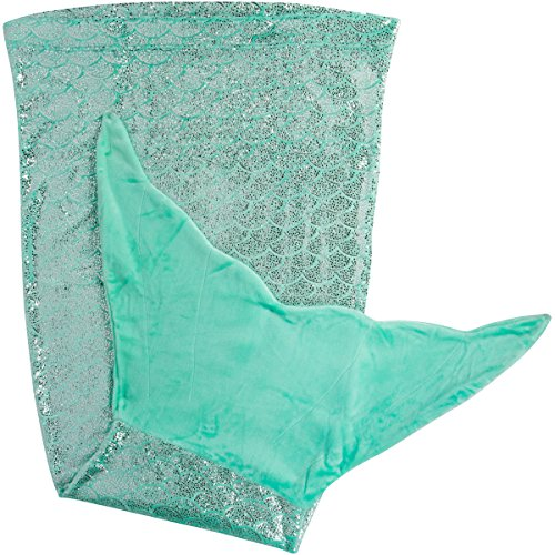 PixieCrush Mermaid Tail Blanket for Teenagers/Adults & Kids Thick, Plush Super Comfy Fleece Snuggle Blanket with Double Stitching, Keep Feet Warm (Small, Shiny Green) by PixieCrush
