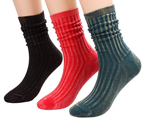 - 3 Pairs Womens Casual Cotton Ribbed Knit Crew Socks Solid Color,Size 5-9 A307 (3 pairs RBG)