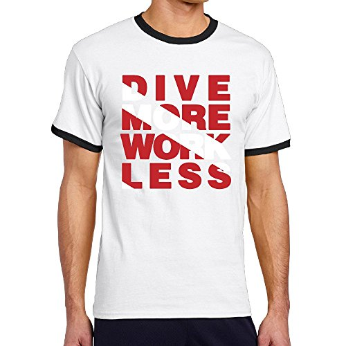 Dive More Work Less Scuba Dive Mens Jersey Short Sleeve Ringer T-shirt (One Direction Neck Less compare prices)