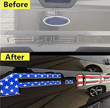 American Flag Tailgate Insert Letters for F150 2018 2019 2020-3D Raised Tailgate Decal Letters