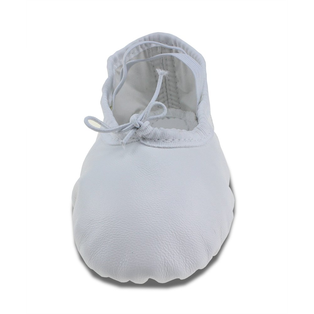 MSMAX White Leather Full Sole Casual Slipper Ballet Flat,Little Kid,12M US
