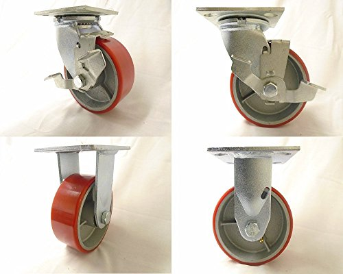 5' x 2' Swivel Caster Polyurethane Wheel Steel Brake (2) & Rigid (2)1000 lbs each Tool Box