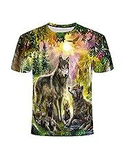 XSHUHANP Mannen 3D-bedrukt Modeshirt Summer Top Fashion Print Lion Tiger Wolf T Shirt Men/Women Animal 3D T Shirt Casual Hip Hop Tee Cool Mens Clothing