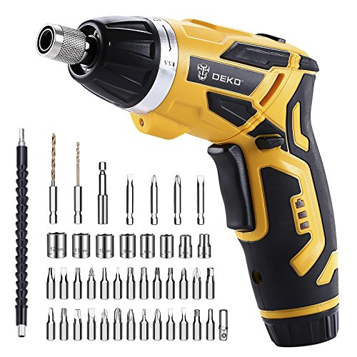 DEKO 3.6V Cordless Electric Screwdriver Household Lithium-Ion Battery Rechargeable Drill/Driver Power Gun Tools with LED Light (BMC) ()