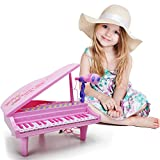 Kids Electronic Piano Keyboard Toy - 32 Keys Light and Musical Instruments with Microphone,Pink