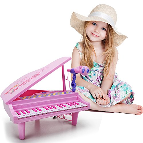 Kids Electronic Piano Keyboard Toy - Multi Function 32 Keys Light and Musical Instruments with Microphone MP3 Record Sing Musical Toy for Kids Toddlers,Pink by HANMUN