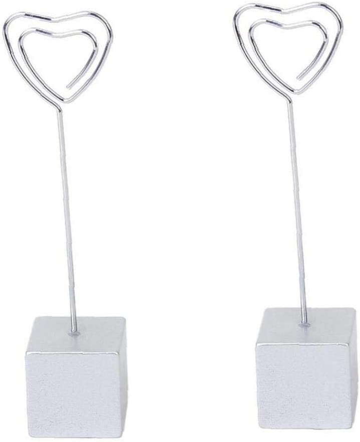 Heall Platz Metallhaltig Memo-Foto-Halter Herz-Form-Karte Bild Memo Foto Clip-Halter Cube Basisdraht Clip Silber