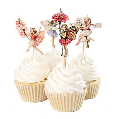 24pcs Flower Fairy Cupcake Toppers - 8
