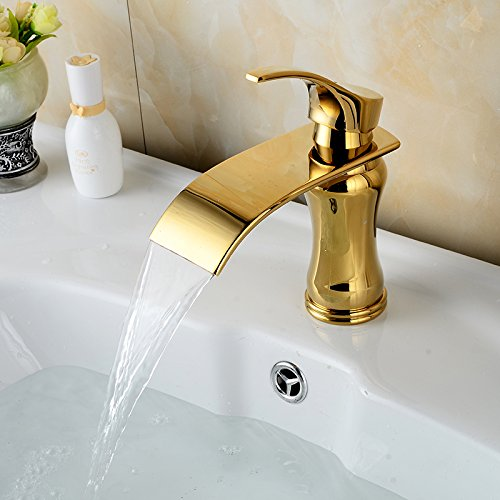 iFaucet Gold(ti-pvd) Waterfall Bathroom Sink Faucet Vessel Faucet Centerset Widespread Modern Single Handle Single Hole Faucets Plumbing Fixtures Sprayer Lavatory Faucets Unique Designer Tub Shower Mixer Taps Supply Lines