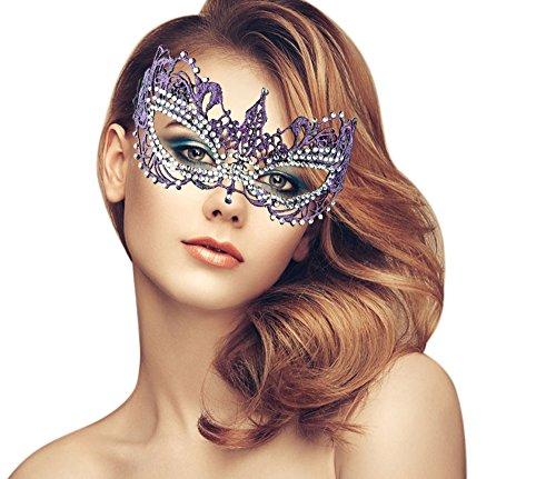 Diamond Mardi Gras Colors (Exquisite High-end Lace Masquerade Mask (Rhinestones/Purple/Venetian/Superstar))