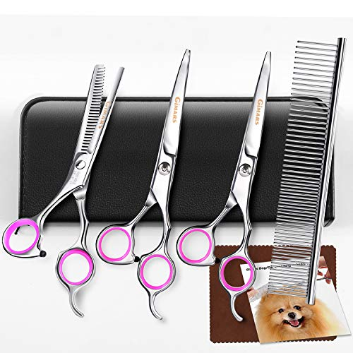 Gimars Titanium Coated 3CR Stainless Steel Dog Grooming Scissors Kit, Heavy Duty Pet Grooming Trimmer Kit – Thinning, Straight, Curved Shears with Comb for Long & Short Hair, Fur for Cat and More Pets