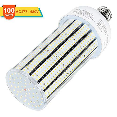480V LED Corn Bulb 100W Cob Light 14500LM E39 Mogul Base 6000K Daylight 400Watt Equivalent CFL HID HPS Metal Halide Replacement for Warehouse Garage Workshop Bay Lighting AC200-500V