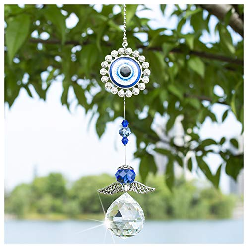 Crystal Angel Suncatcher with Feng Shui Turkish Blue Evil Eye Protection and Good Luck Charm Gift ()