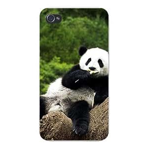 Apple Iphone Custom Case 4 4s White Plastic Snap on - Lounging & Eating Panda Bear