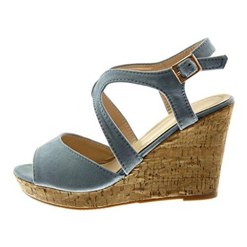 Angkorly Damen Schuhe Mule Sandalen - Peep-Toe - Knöchelriemen - Plateauschuhe - Kork - String Tanga Keilabsatz High Heel 10 cm Blau