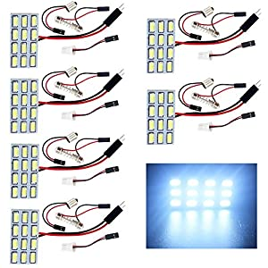 EverBrightt 6-Pack Cool White 5730 12SMD Led Panel Dome Light Bulb Car Reading Map Light DC 12V With T10 / BA9S / Festoon Adapters